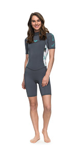 2018 Roxy Womens Syncro Series 2mm Back Zip Shorty Wetsuit ASH / PISTACCIO ERJW503007