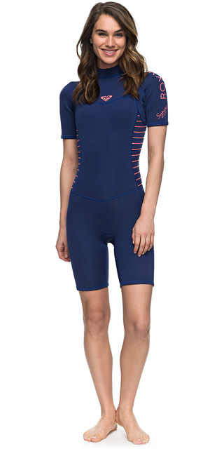 2018 Roxy Womens Syncro Series 2mm Back Zip Shorty Wetsuit Navy Erjw503007 Picture