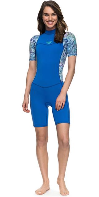 2018 Roxy Womens Syncro Series 2mm Back Zip Shorty Wetsuit Sea Blue Ii Erjw503007 Picture