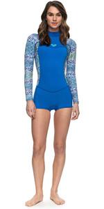 2018 Roxy Womens Syncro Series 2mm Long Sleeve Back Zip Spring Shorty SEA BLUE ERJW403014