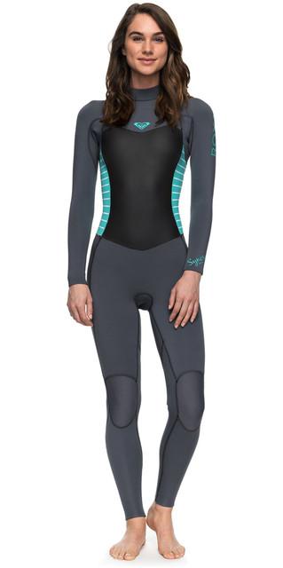 2018 Roxy Womens Syncro Series 3/2mm Gbs Back Zip Wetsuit Ash / Pistaccio Erjw103024 Picture