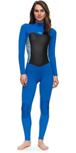 2018 Roxy Womens Syncro Series 3/2mm Gbs Back Zip Wetsuit Sea Blue Ii Erjw103024 Picture