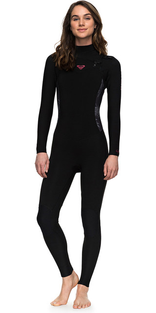 2018 Roxy Womens Syncro Series 3/2mm Gbs Chest Zip Wetsuit Black Erjw103025 Picture