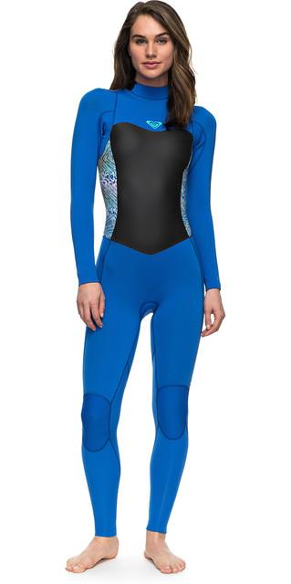 2018 Roxy Womens Syncro Series 4/3mm Gbs Back Zip Wetsuit Blue Erjw103027 Picture