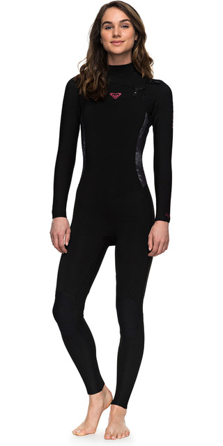 2018 Roxy Womens Syncro Series 4/3mm Gbs Chest Zip Wetsuit Black Erjw103022 Picture