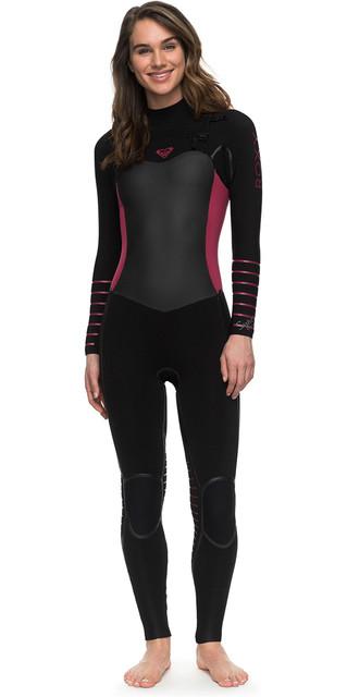2018 Roxy Womens Syncro+ 4/3mm Chest Zip Lfs Wetsuit Black Erjw103030 Picture