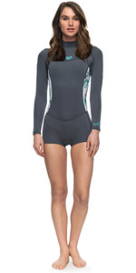 Roxy Womens Syncro Series 2mm Long Sleeve Back Zip Spring Shorty Wetsuit ASH / PISTACCIO ERJW403014