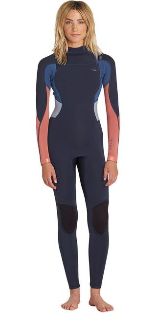 2018 Billabong Womens Synergy 3/2mm Flatlock Back Zip Wetsuit Slate H43g12 Picture