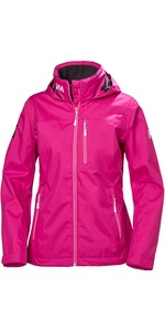2019 Helly Hansen Womens Crew Hooded Jacket Dragon Fruit 33899