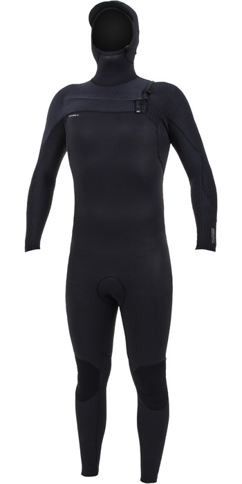 2020 O'Neill Mens HyperFreak+ 5/4mm Chest Zip Hooded Wetsuit 5347 - Black