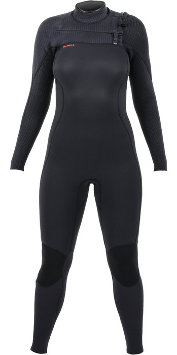 2020 O'Neill Womens Hyperfreak+ 3/2mm Chest Zip Wetsuit Black 5348