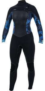 2020 O'Neill Womens Psycho Tech+ 4/3mm Chest Zip Wetsuit Black / Blue Faro 5339