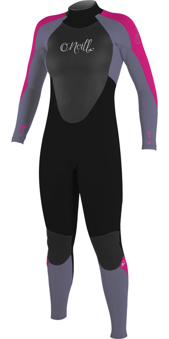 2019 O'Neill Youth Girls Epic 3/2mm Back Zip GBS Wetsuit Black / Mist / Berry 4215G
