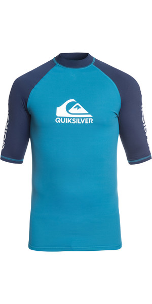 2019 Quiksilver On Tour Short Sleeve Rash Vest Ocean Blue EQYWR03139