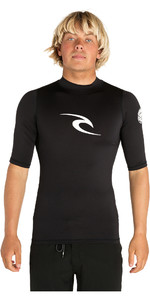 2020 Rip Curl Mens Corpo Short Sleeve UV Tee Rash Vest BLACK WLE4KM