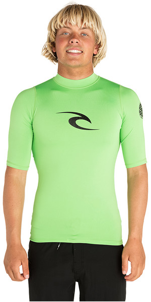 2019 Rip Curl Corpo Short Sleeve UV Tee Rash Vest Lime Green WLE4KM