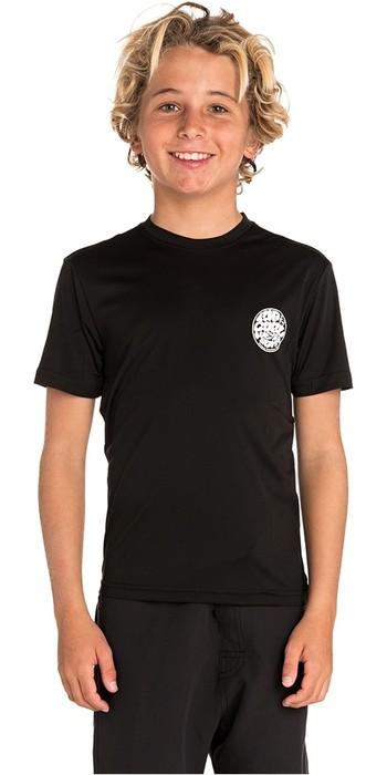 2019 Rip Curl Junior Boys Search Surflite UV T Shirt / Rash Vest Black WLY7FB