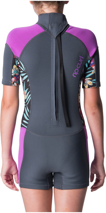 2019 Rip Curl Junior Girls Dawn Patrol Spring Shorty Wetsuit Purple WSP8BJ