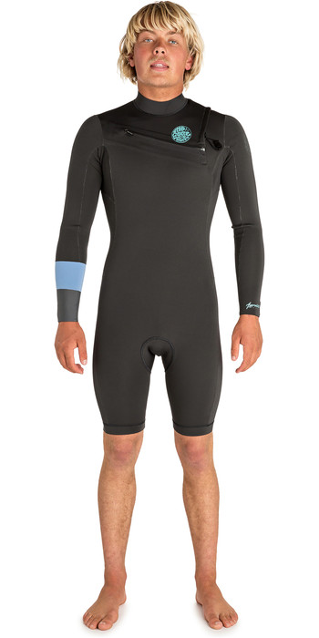 2019 Rip Curl Mens Aggrolite 2mm Chest Zip Long Sleeve Shorty Wetsuit Teal WSP6HM