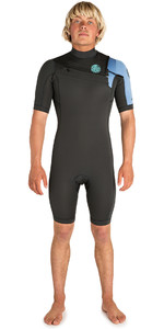 2019 Rip Curl Mens Aggrolite 2mm Chest Zip Spring Shorty Wetsuit Teal WSP6GM