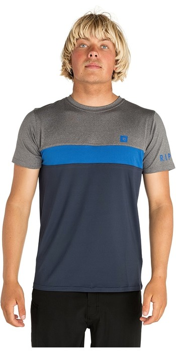 2019 Rip Curl Mens Underline Panel Short Sleeve Rash Vest Blue WLY7PM