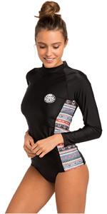 2019 Rip Curl Womens Cabana Long Sleeve UV50 Rash Vest Black WLU9CW