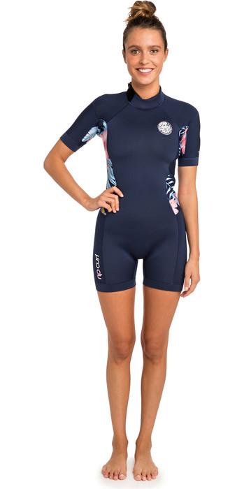 2019 Rip Curl Womens Dawn Patrol 2mm Back Zip Shorty Wetsuit Navy WSP8FW