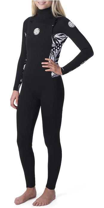 2020 Rip Curl Womens Dawn Patrol 3/2mm Chest Zip Wetsuit Black / Black WSM9CS