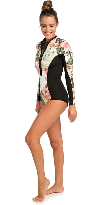 2019 Rip Curl Womens G-Bomb 1mm Long Sleeve Shorty Wetsuit White WSP7LW