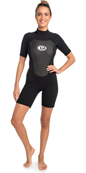 2019 Rip Curl Womens Omega 2mm Back Zip Spring Shorty Wetsuit BLACK WSP4CW