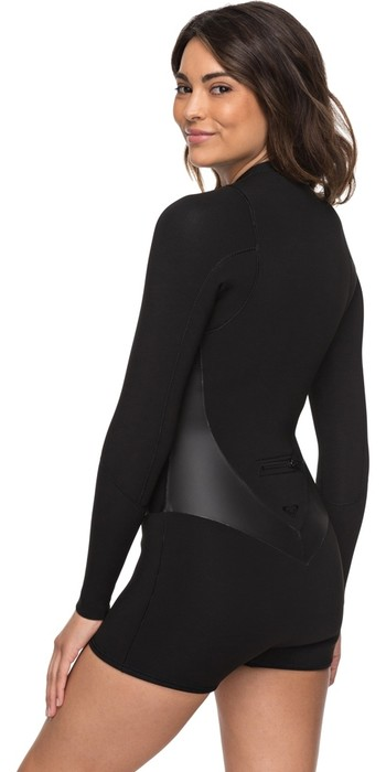 2019 Roxy Womens 2mm Satin Long Sleeve Spring Shorty Wetsuit Black ERJW403010