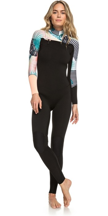 2019 Roxy Womens 3/2mm Pop Surf Chest Zip Wetsuit ERJW103047 - Black / Multi