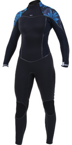 2019 O'Neill Womens Psycho One 5/4mm Back Zip Wetsuit Black / Blue Faro 5121