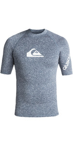 2019 Quiksilver All Time Short Sleeve Rash Vest Dark Denim Heather EQYWR03136