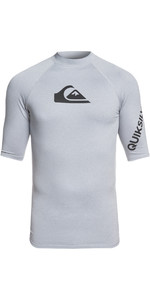 2019 Quiksilver All Time Short Sleeve Rash Vest Light Grey EQYWR03136