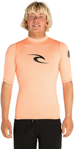 2019 Rip Curl Corpo Short Sleeve UV Tee Rash Vest Orange WLE4KM