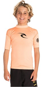 2019 Rip Curl Junior Boys Corpo Short Sleeve Rash Vest Orange WLY5DB