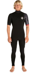 2019 Rip Curl Mens E-Bomb 2mm Zip Free Short Sleeve Wetsuit Black / Red WSM8TS