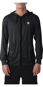 2019 Rip Curl Mens Search Surflite Rash Hoodie Black WLY8UM