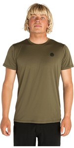 2019 Rip Curl Mens Search Surflite Short Sleeve Rash Vest Military Green WLY7TM
