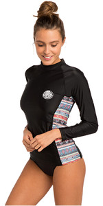 2019 Rip Curl Womens Cabana Long Sleeve UV50 Rash Vest Black WLU9CW