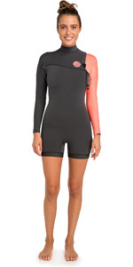 2019 Rip Curl Womens G-Bomb 2mm Long Sleeve Shorty Wetsuit Coral WSP9IW