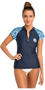 2019 Rip Curl Womens Moontide Cap Sleeve Front Zip Rash Vest Blue WLY8OW