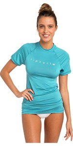 2019 Rip Curl Womens Sunny Rays Relaxed Short Sleeve Rash Vest Light Blue WLY6MW