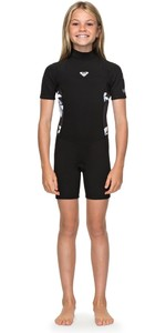 2019 Roxy Girls Syncro 2mm Back Zip Spring Shorty Wetsuit Black / White ERGW503004