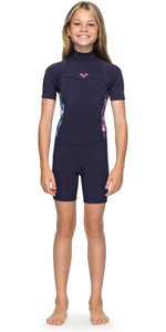 2019 Roxy Girls Syncro 2mm Back Zip Spring Shorty Wetsuit Blue Ribbon ERGW503004