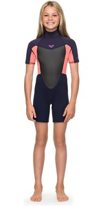 2019 Roxy Girls 2mm Prologue Back Zip Shorty Blue Ribbon / Coral ERGW503008