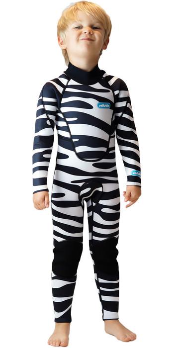 2020 Saltskin Junior 3/2mm Back Zip Wetsuit - Zebra