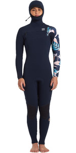 2020 Billabong Womens Furnace Comp 5/4mm Chest Zip Hooded Wetsuit U45G33 - Iris