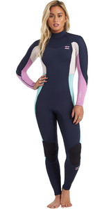 2021 Billabong Womens Synergy 4/3mm Back Zip GBS Wetsuit U44G36 - Navy